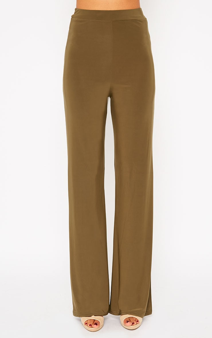 Remi Khaki Soft Touch Wide Leg Trousers 2