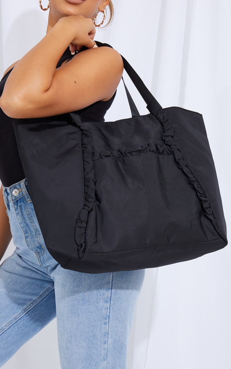 Black Ruffle Trim Tote Bag 1