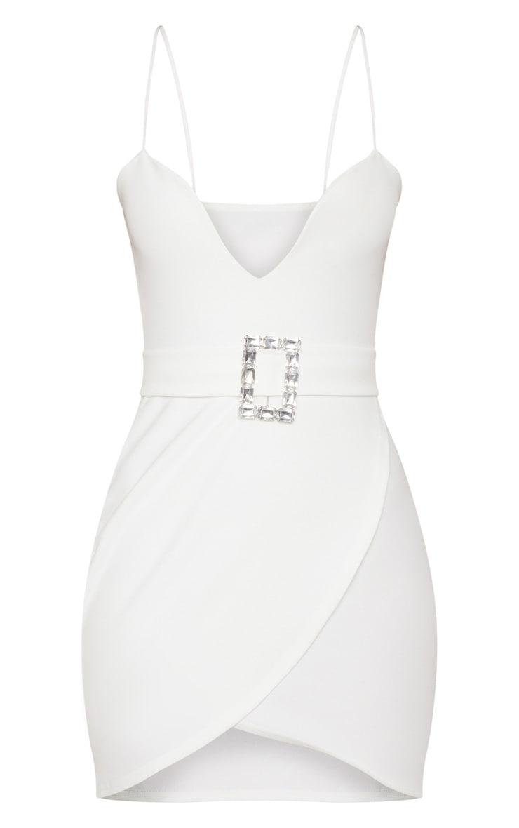 White Strappy Diamante Belt Wrap Bodycon Dress 3