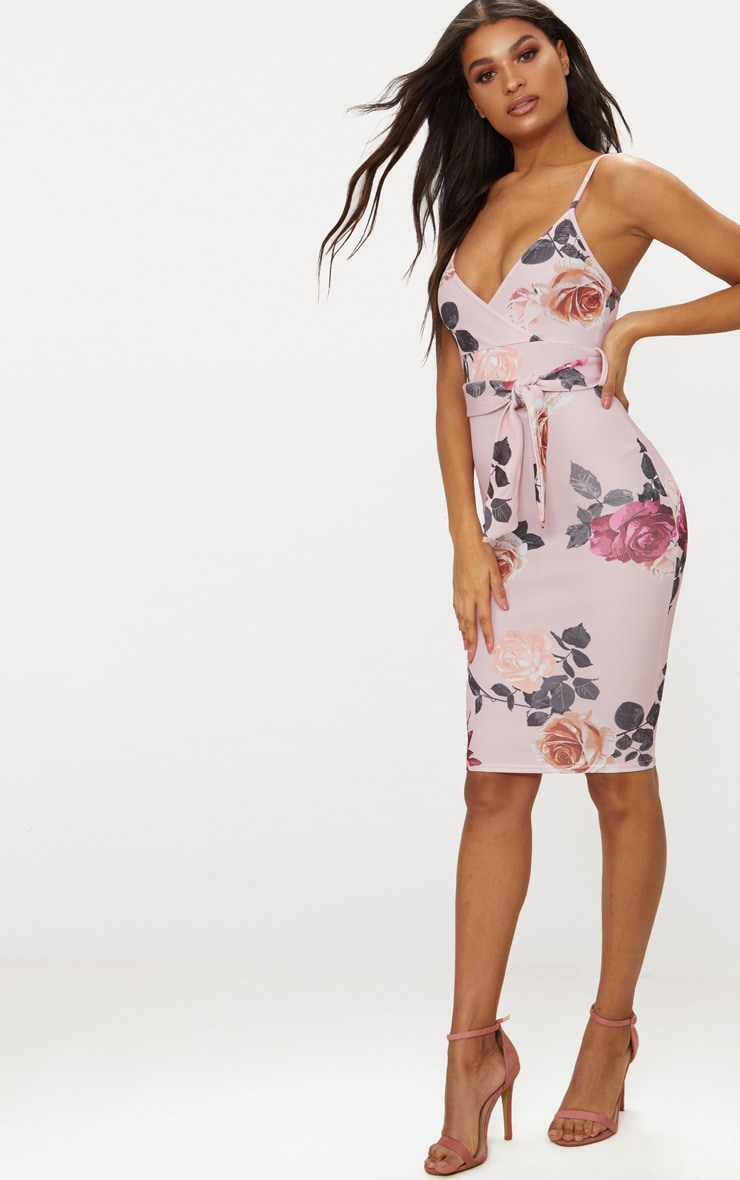 Dusty Pink Floral Print Plunge Tie Detail Midi Dress 3