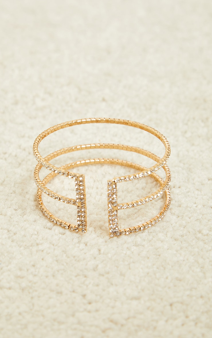 Gold Diamante Three Row Cut Out Bracelet 2
