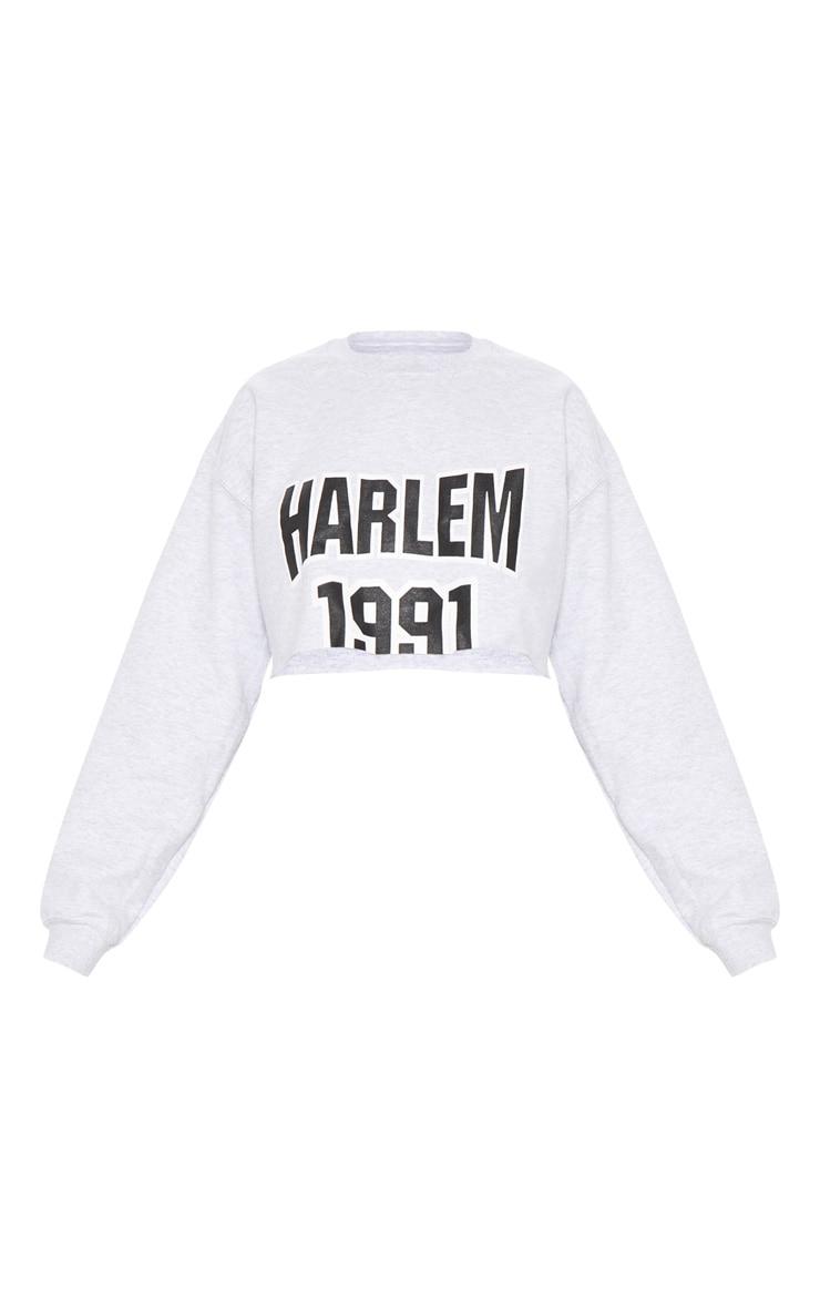 Grey Harlem Slogan Crop Sweater 3