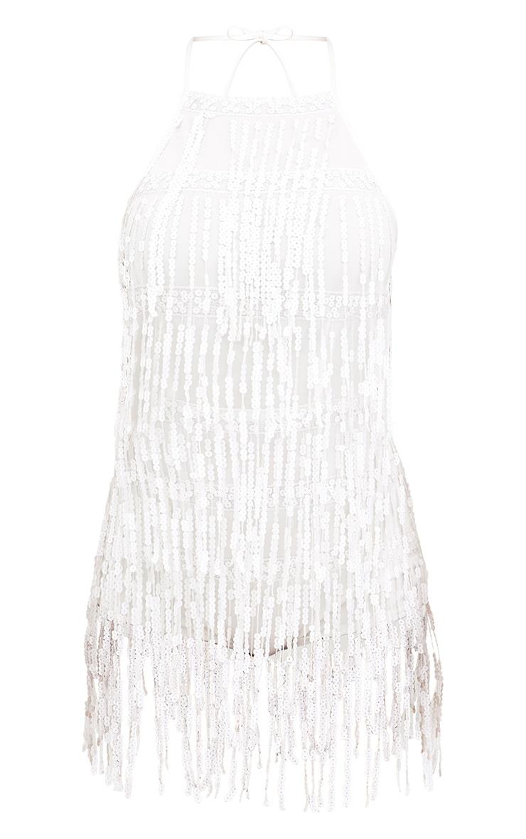 White Sequin Tassel Playsuit 3