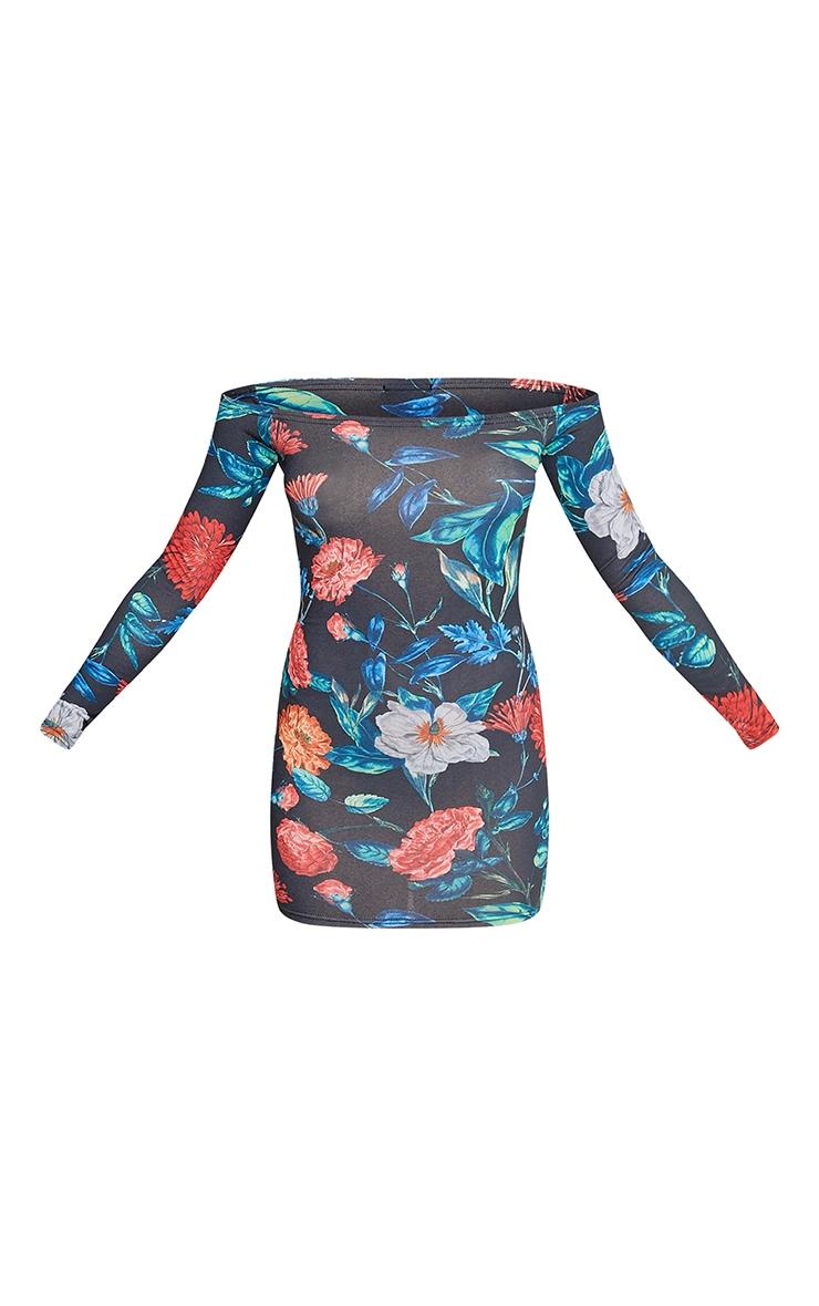 Meeshia Red Floral Bardot Longsleeve Bodycon Dress 3