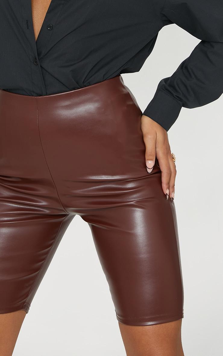Chocolate Faux Leather Bike Shorts 6