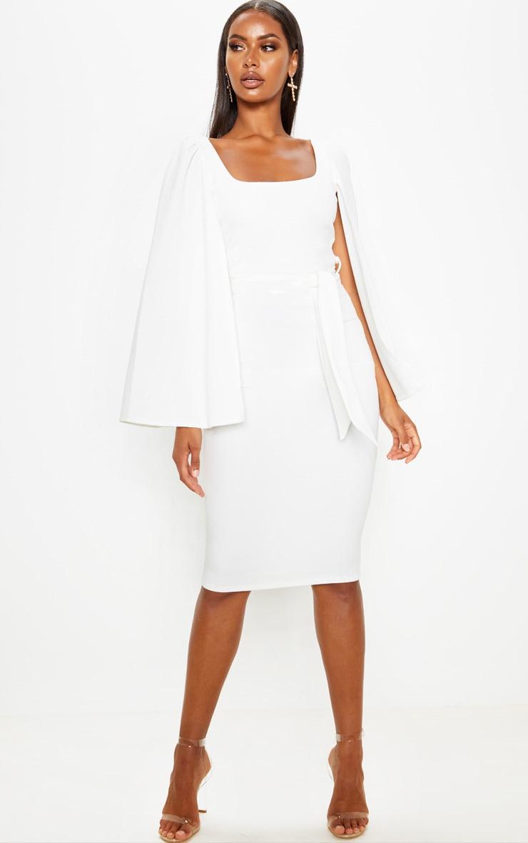 White Cape Sleeve Tie Waist Midi Dress 1