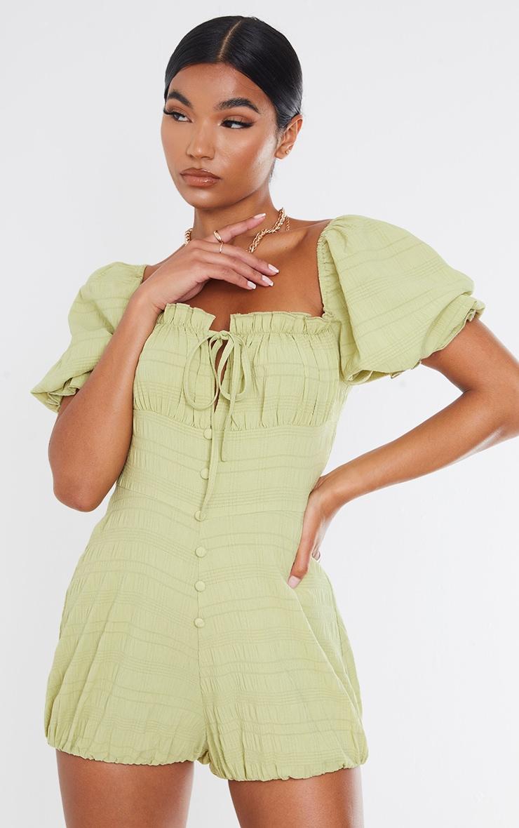 Lime Crinkle Woven Ruched Bust Elastic Hem Romper 1