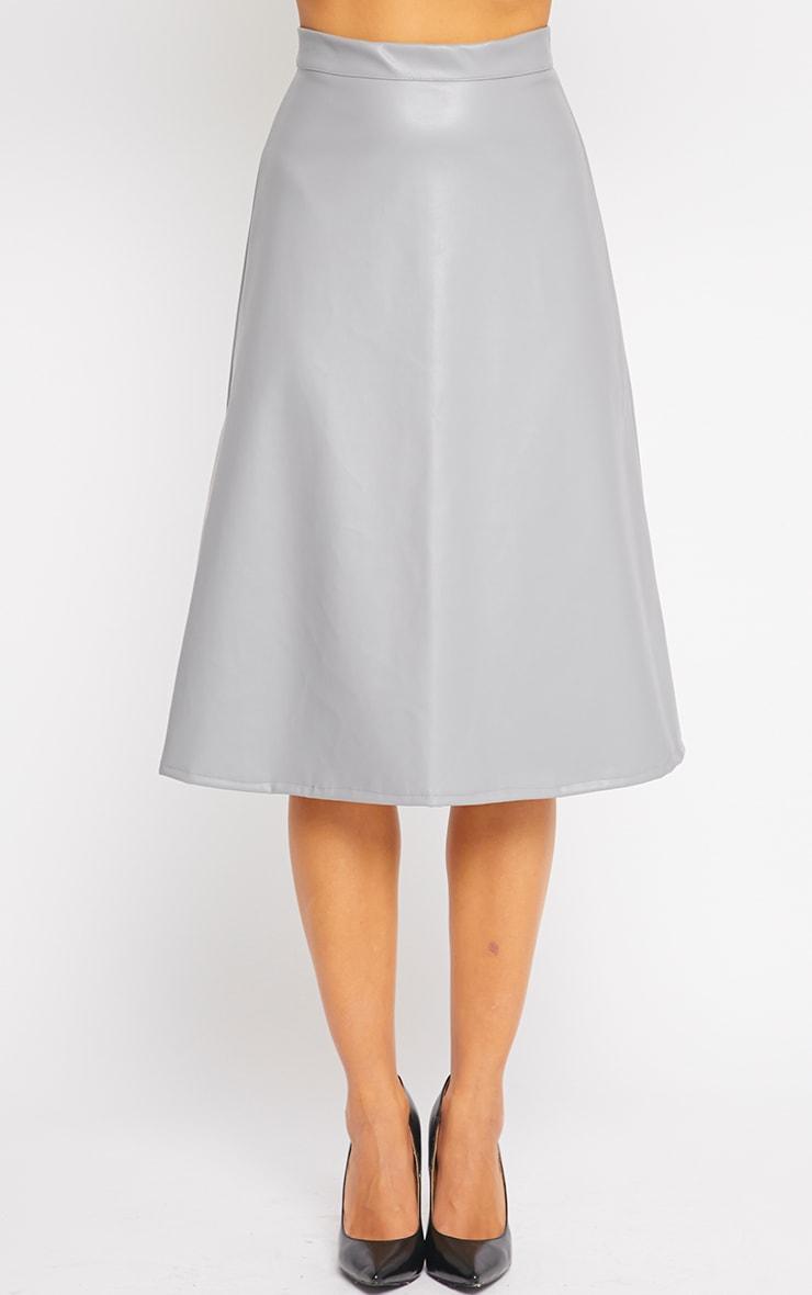 Heidi Grey Leather A Line Midi Skirt 4