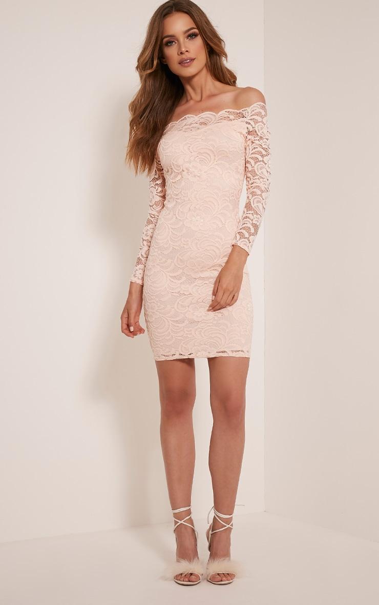 Alice Nude Bardot Lace Midi Dress 5
