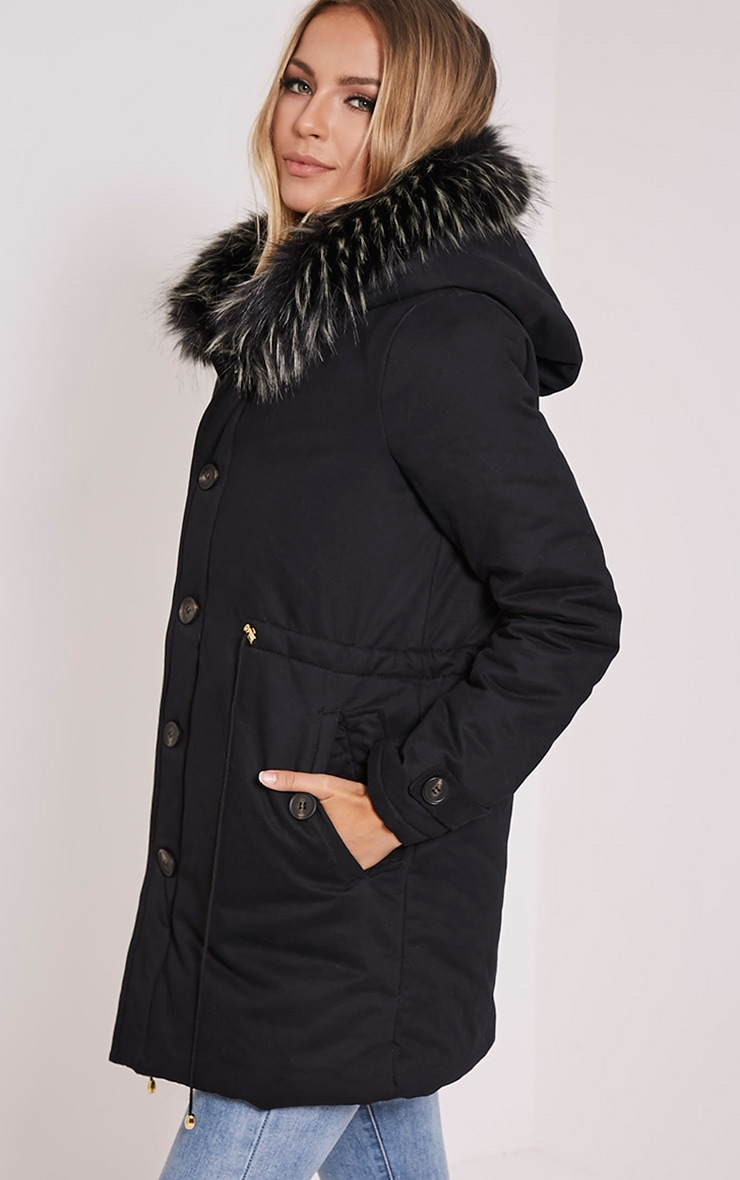 Emmi Black Premium Faux Fur Lined Parka Coat 4