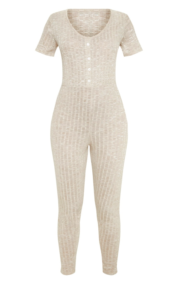 Oatmeal Rib Button Front Onesie 3