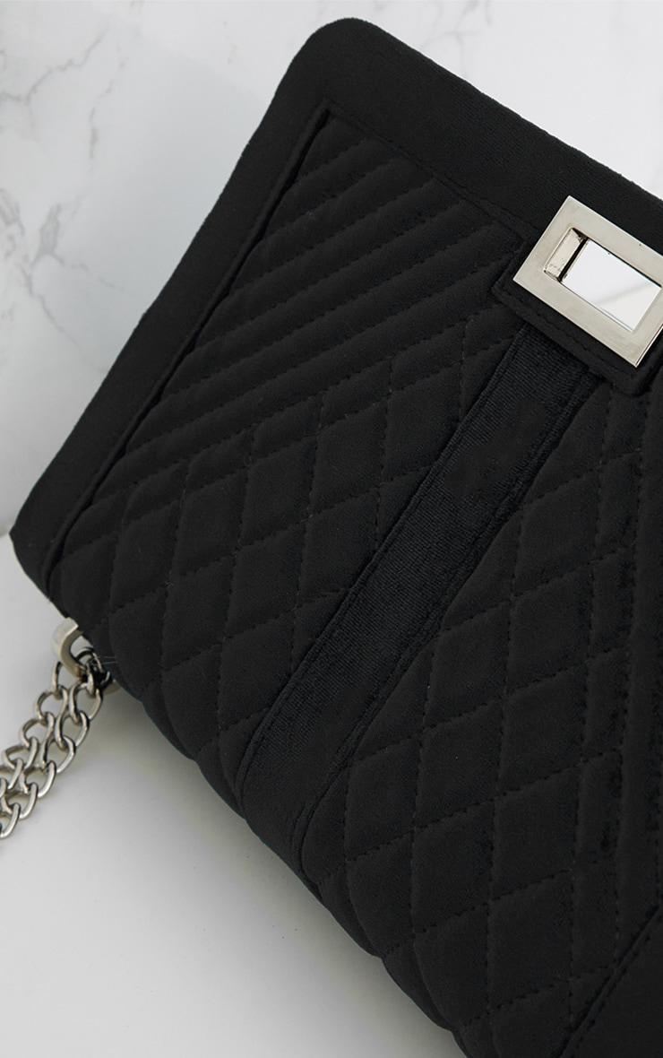 Black Velvet Quilted Shoulder Bag 6