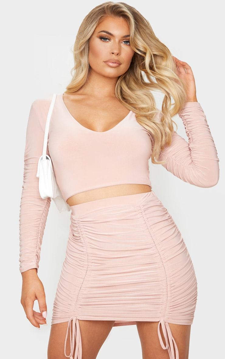 Blush Slinky Ruched Sleeve V Neck Crop Top 1
