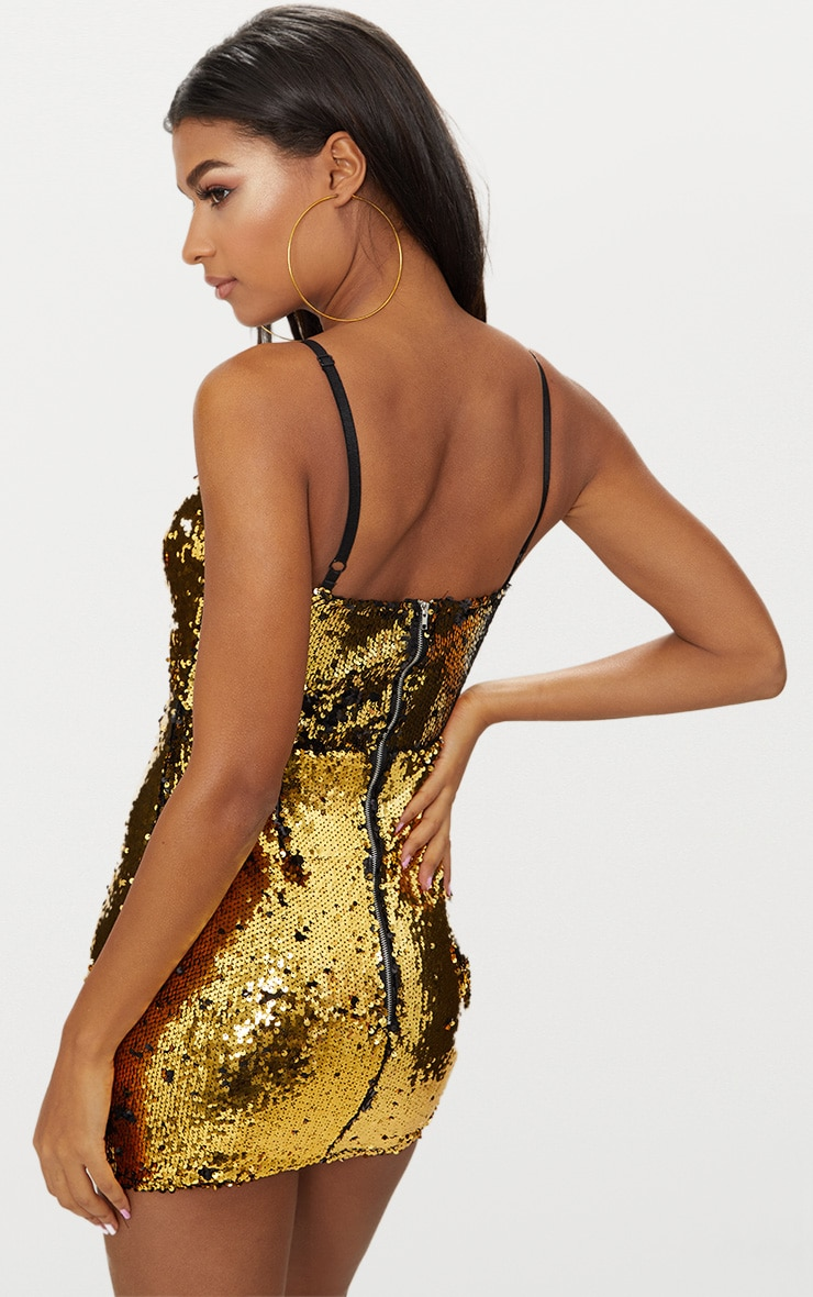 Gold Sequin Cut Out Bodycon Dress 2