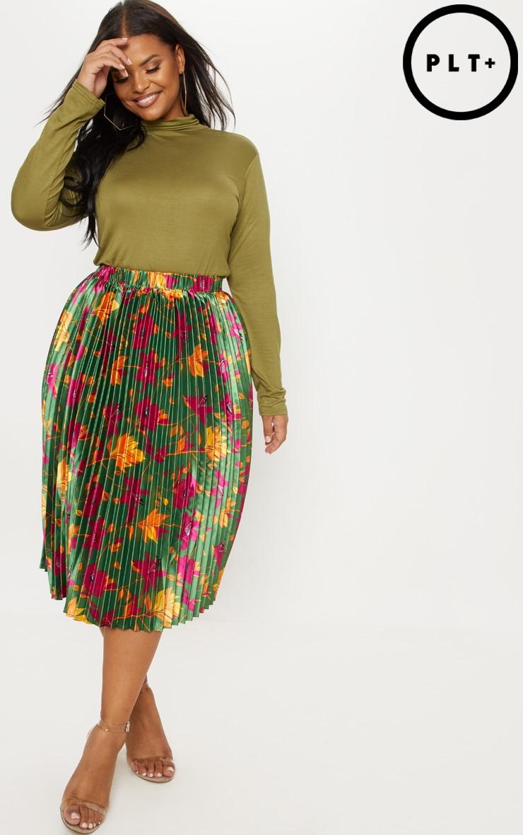 Plus Emerald Green Floral Print Pleated Midi Skirt 1