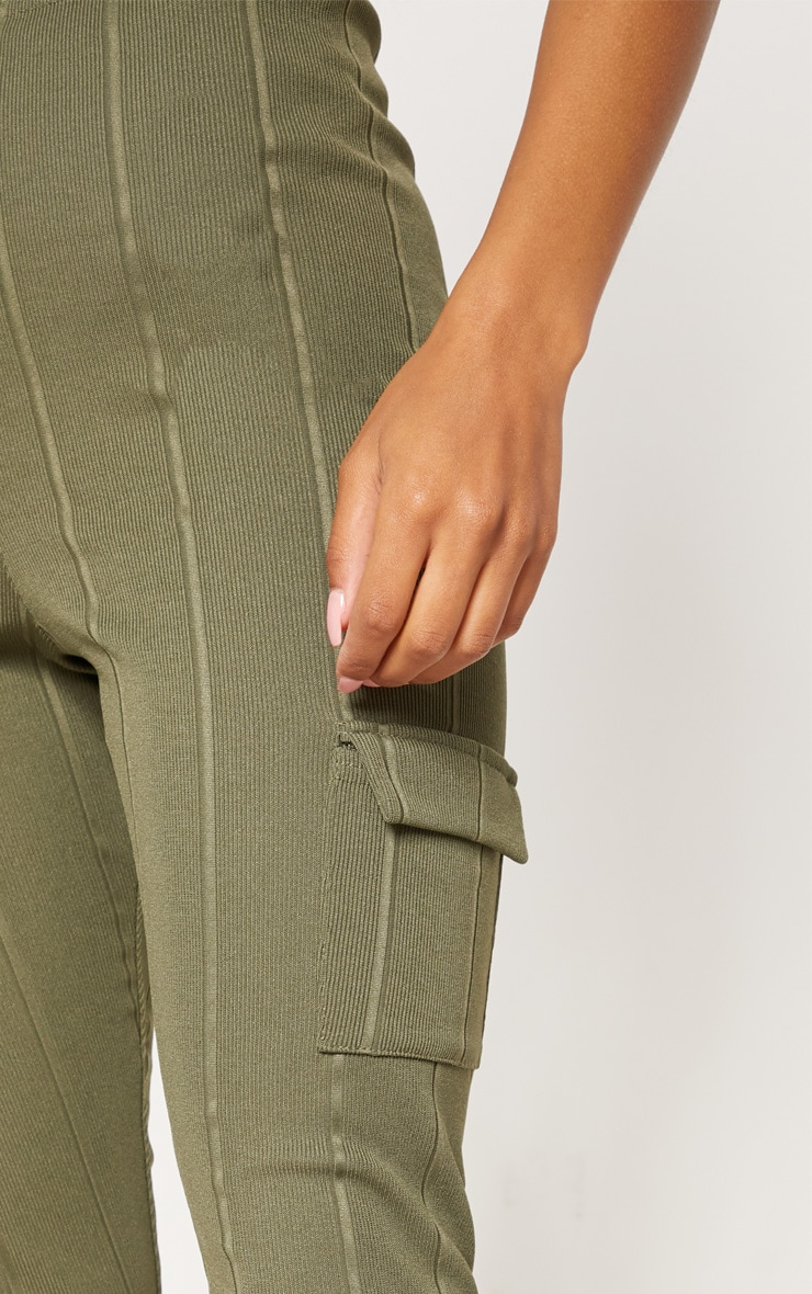 Khaki Bandage Pocket Detail Skinny Trouser 5