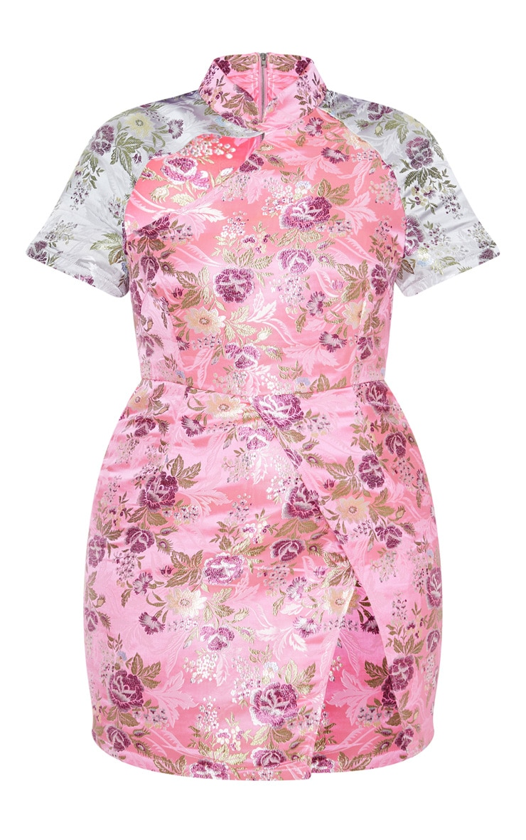 Plus Pink Oriental Side Split Bodycon Dress 3