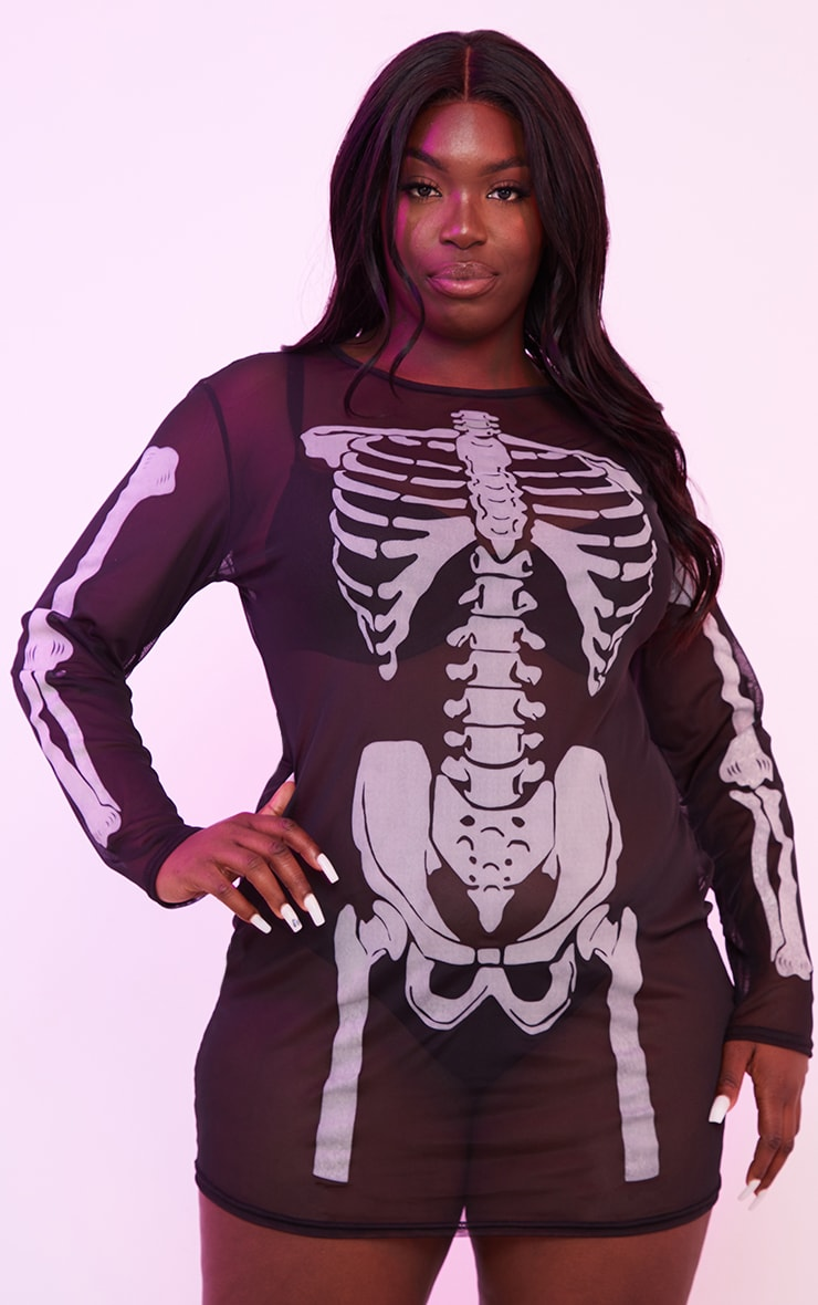 Plus Black Skeleton Print Sheer Mesh Bodycon Dress 3