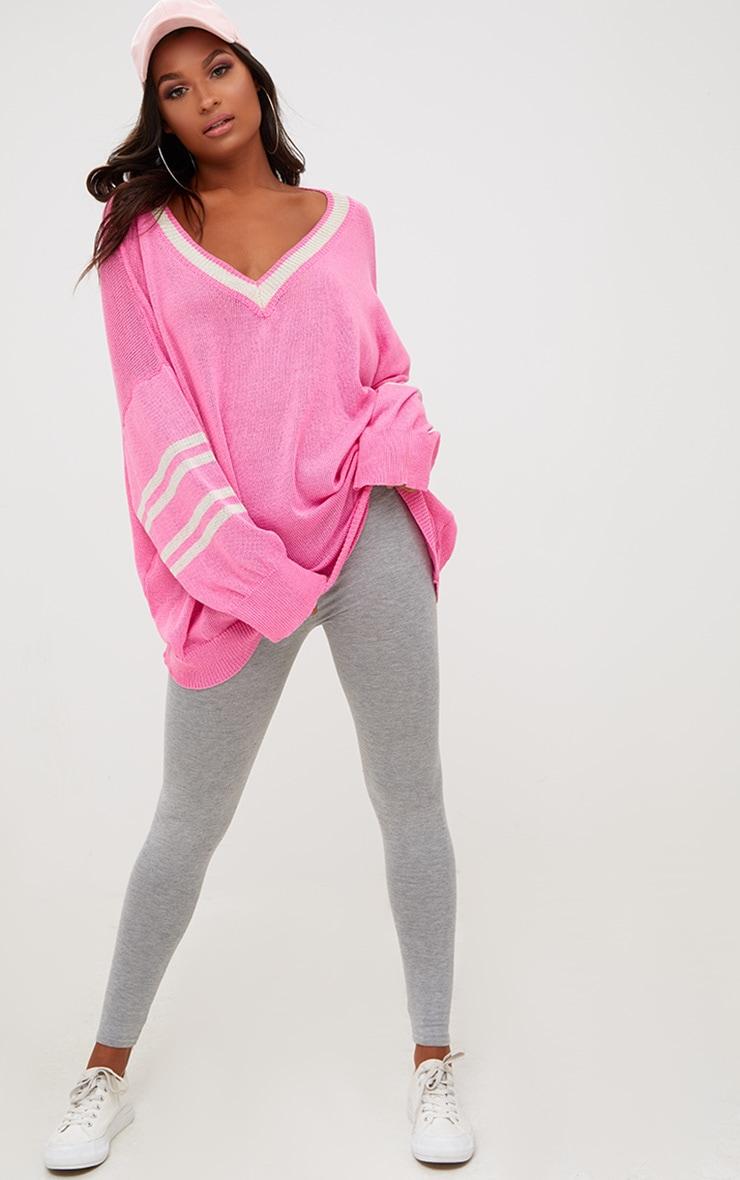 Pink V Neck Sheer Knitted Jumper 4