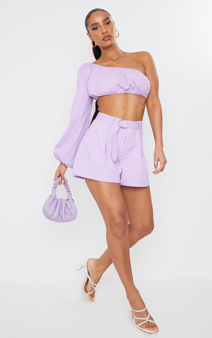 Lilac Washed Belted Denim Shorts 1
