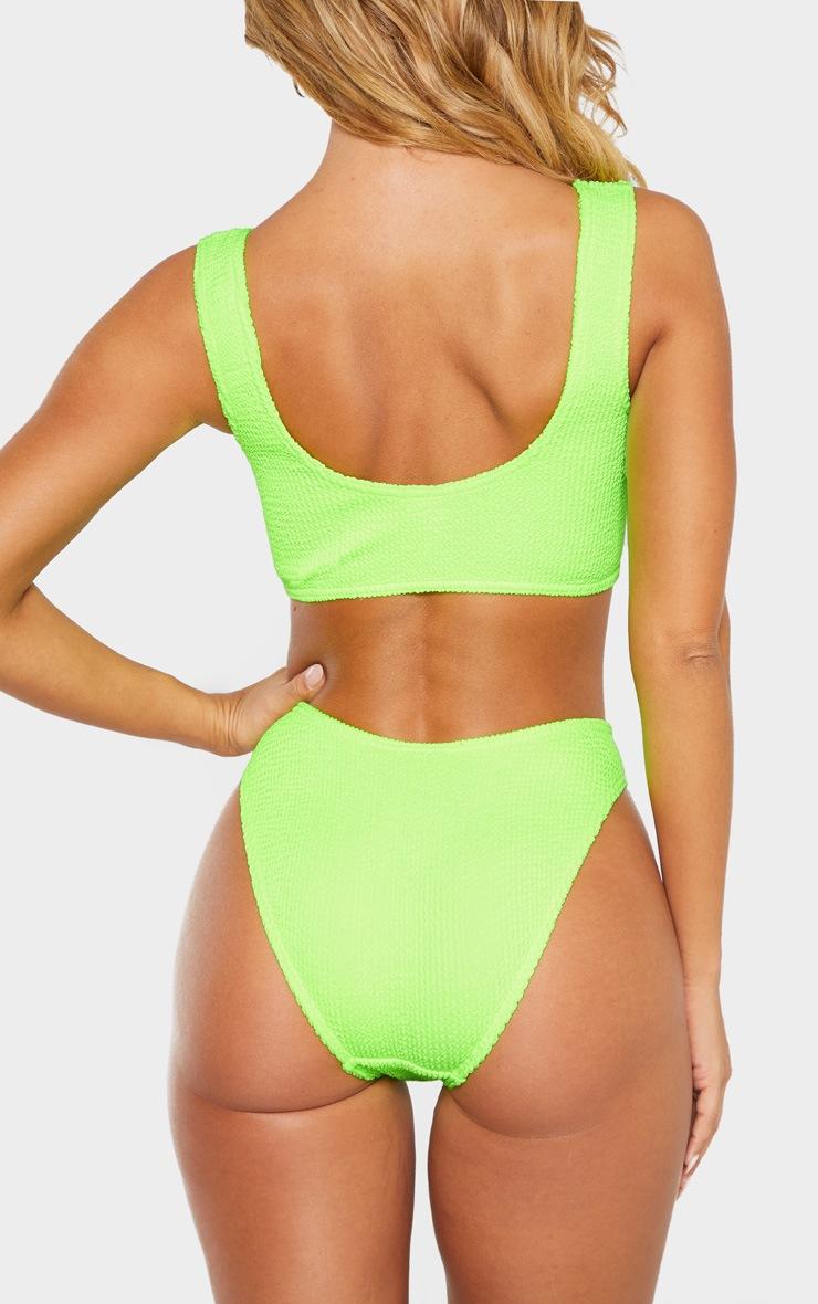 Neon Lime Crinkle Deep Scoop Bikini Top 3