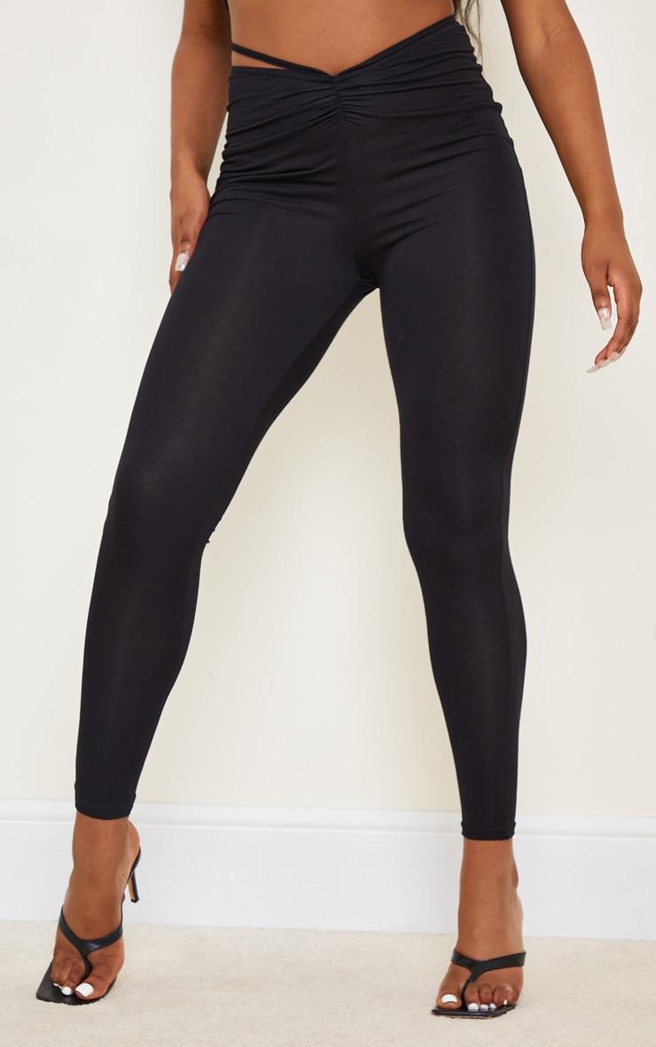 Black V Hem Low Rise Tie Waist Leggings 2