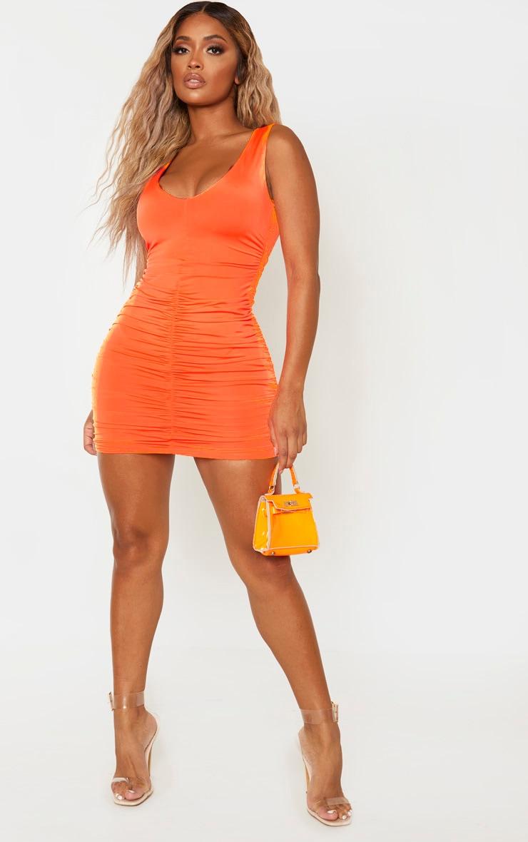 Shape Neon Orange Plunge Ruched Skirt Bodycon Dress 4