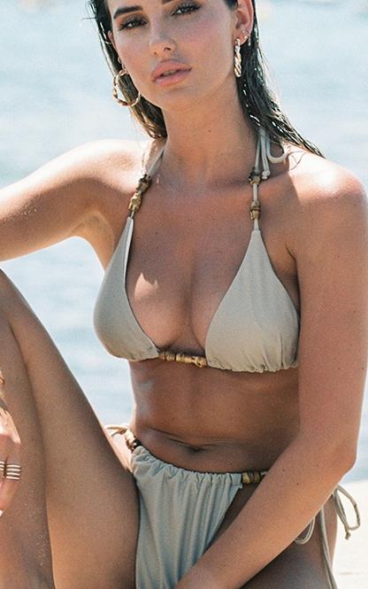 Sand Wooden Bead Triangle Bikini Top 4