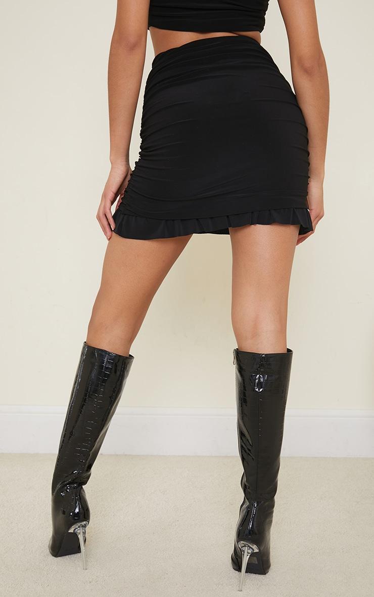 Black Slinky Ruched Side Frill Panel Hem Mini Skirt 3
