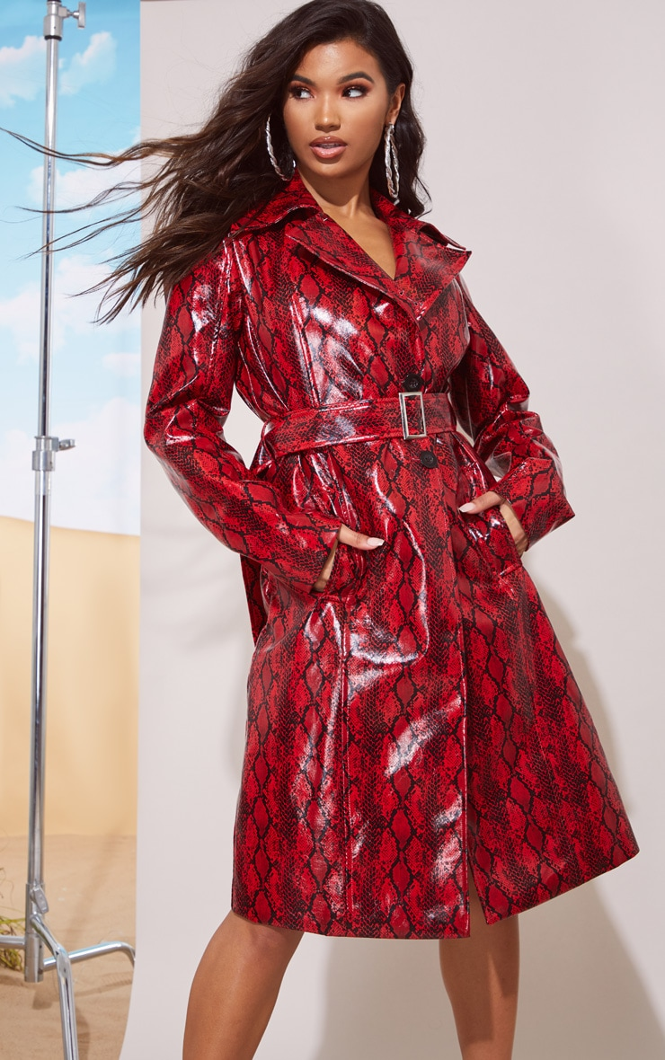 Red Snake Vinyl Trench Coat 2