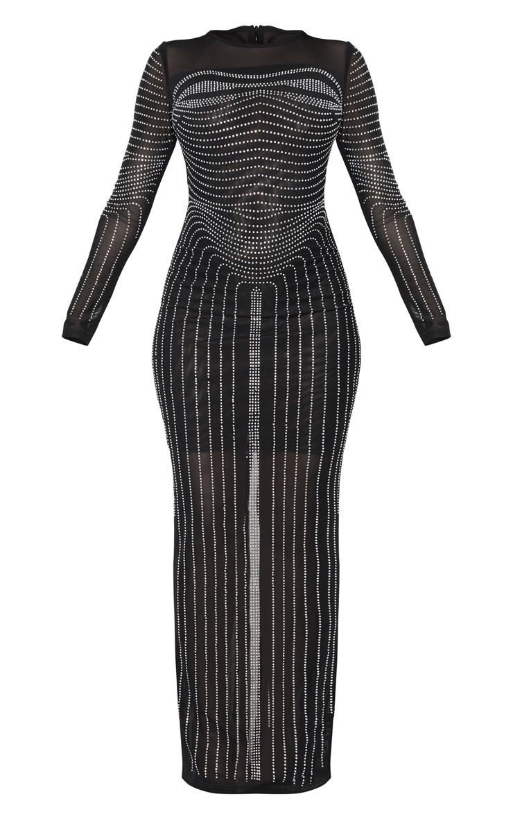 Black Diamante Embellished Mesh Long Sleeve Maxi Dress 3