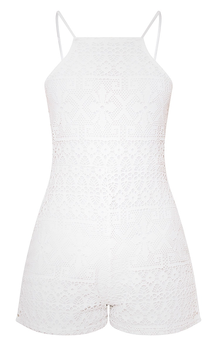 Cream Lace Embroidered 90's Neck Playsuit  3