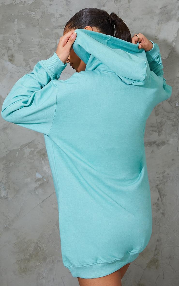 Washed Green Oversized Hoodie Sweat Jumper Dress 2