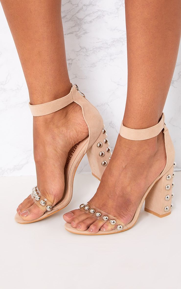 Nude Round Studded Faux Suede Block Heels 1