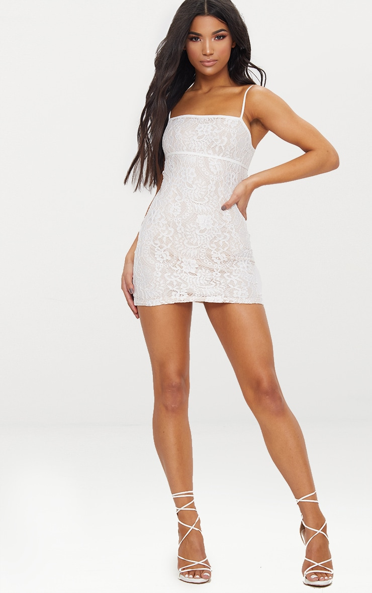 White Lace Bodycon Dress With Nude Lining 3