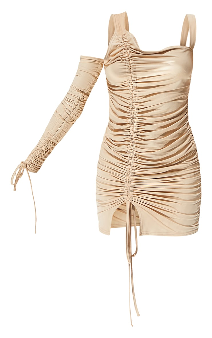 Stone Slinky Cold Shoulder Detail Ruched Bodycon Dress 5