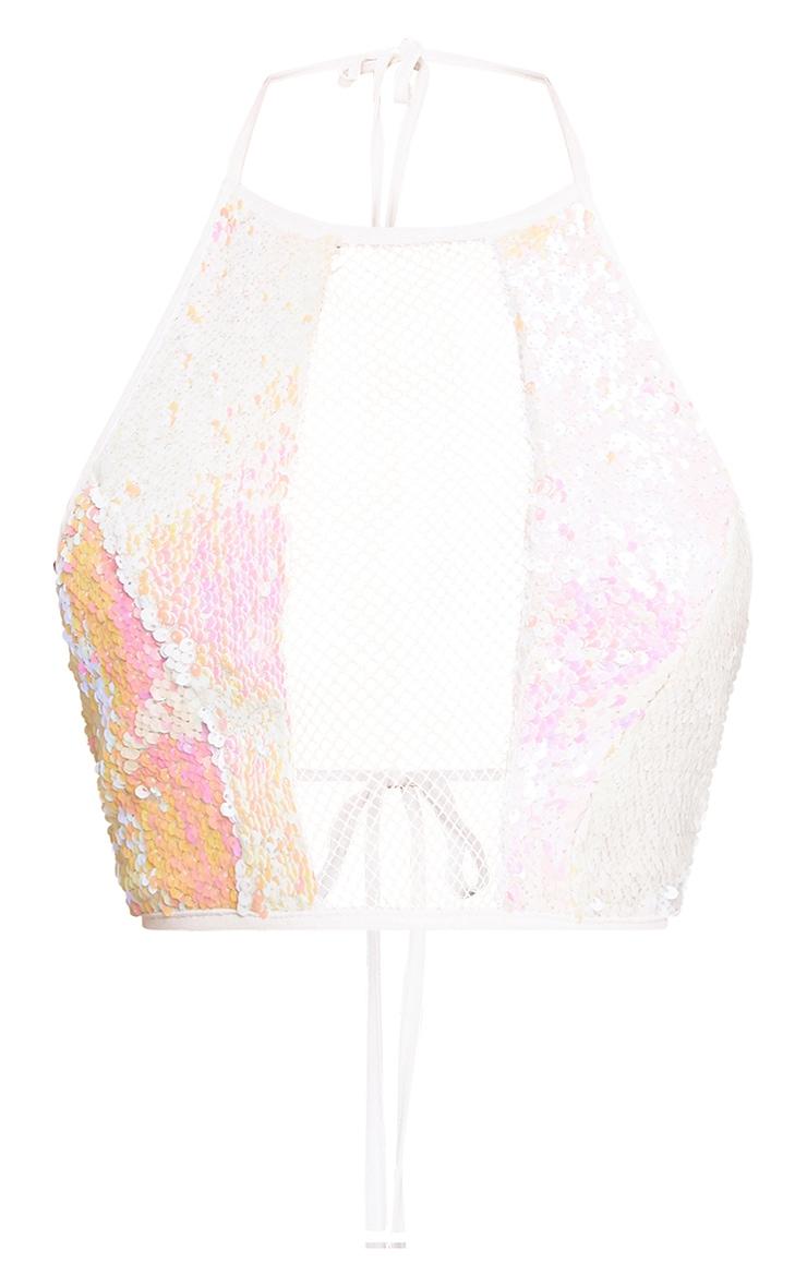 Pink Sequin Fishnet Crop Top  2