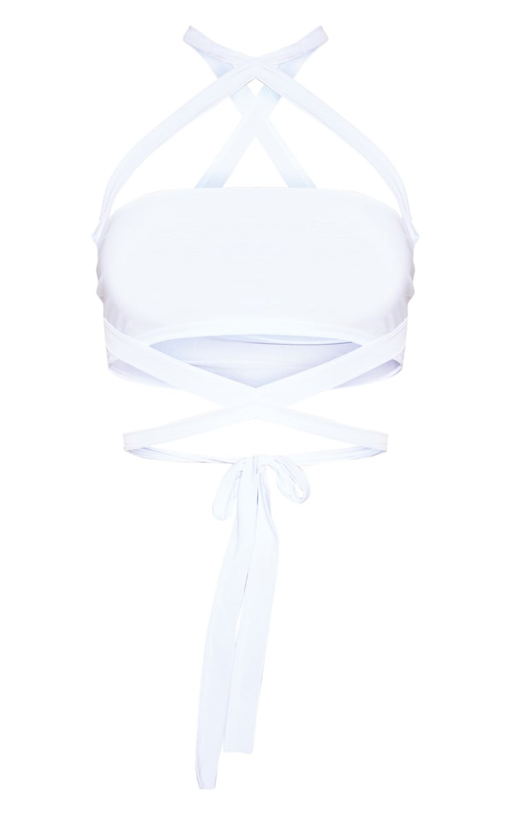 White Slinky Tie Detail Bandeau Top 3