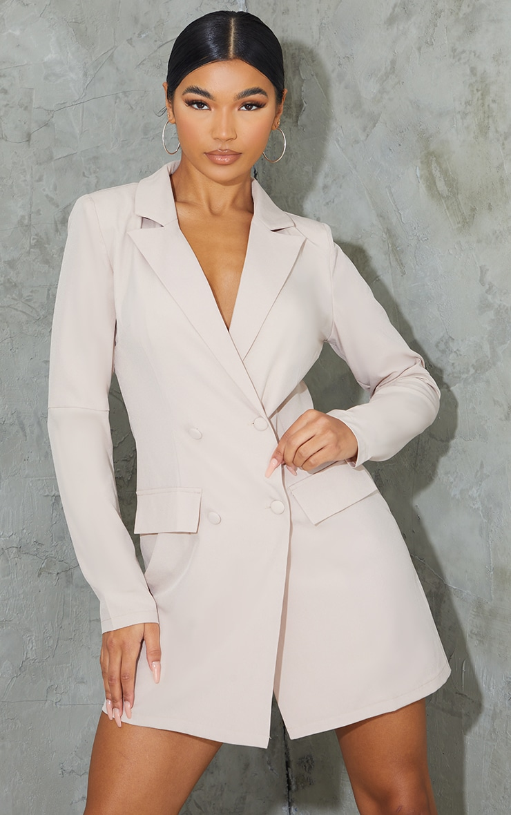 Stone Shoulder Pad Button Blazer Dress 3