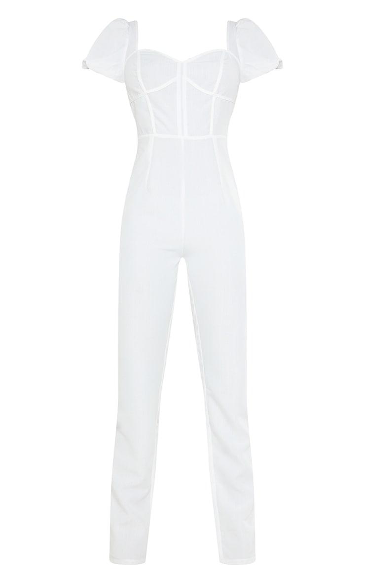 Tall - Combinaison blanche style corset à manches bouffantes 5