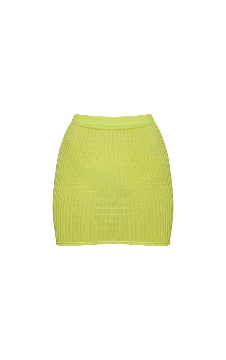 Lime Green Rib Mini Skirt 6
