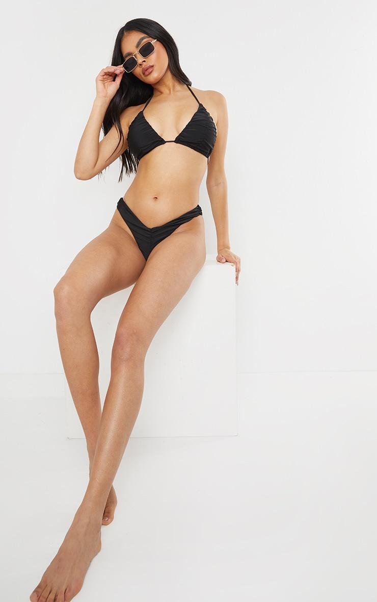 Black Ruched Front & Back Bikini Bottoms 3