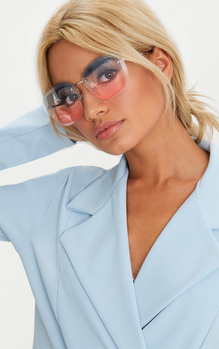 Blue Lensed Frameless Sunglasses 1
