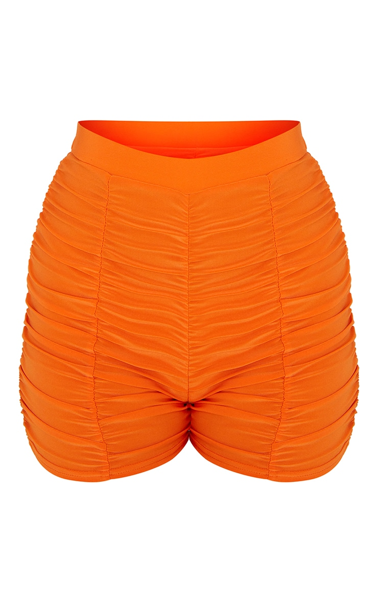 Orange Slinky Ruched Detail Bike Shorts 6