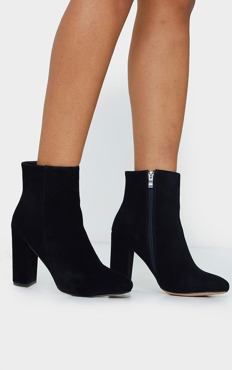 Black Wide Fit Behati Block Heeled Ankle Boot 2