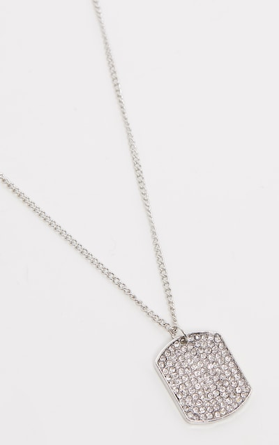 Silver Diamante Tag Necklace