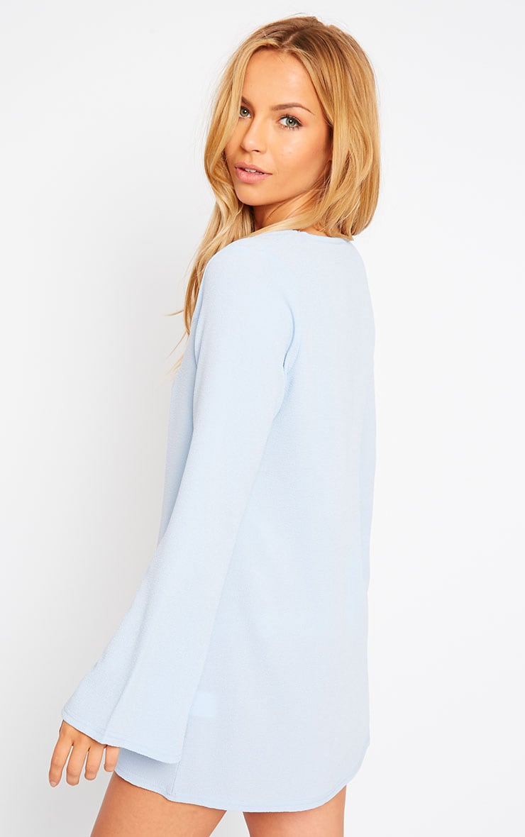 Liz Powder Blue Cross Front Crepe Loose Fit Swing Dress 4
