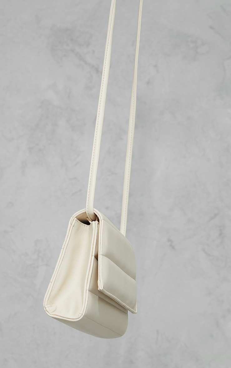 Cream Square Quilted Panel Cross Body Bag 3