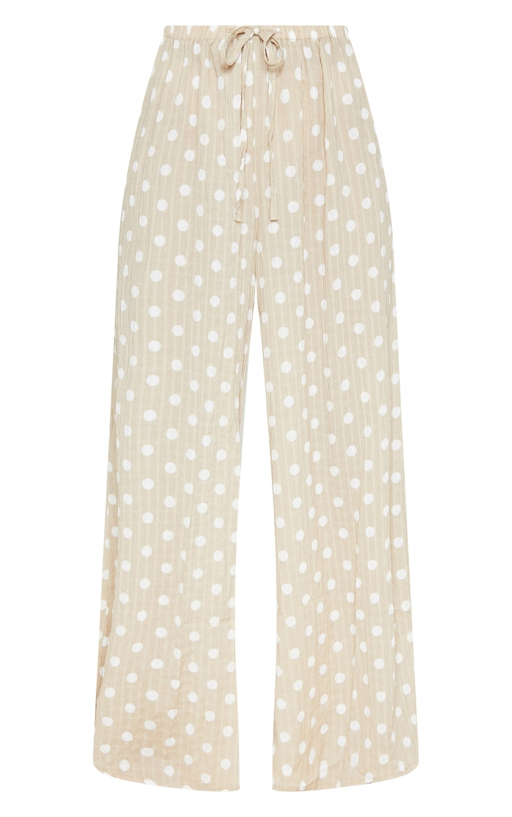 Stone Cheesecloth Polka Dot Wide Leg Trousers 3