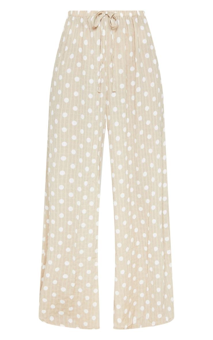 Stone Cheesecloth Polka Dot Wide Leg Trousers  3